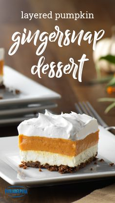 Layered Pumpkin Gingersnap Dessert – Sweeten up your day with this cozy dessert recipe. Including vanilla pudding, pumpkin, and COOL WHIP, this treat is ideal for serving during the fall and winter holidays. Pumpkin Cake Recipes, Baked Pumpkin, Pumpkin Dessert, Cookie Recipes, Pumpkin Bread, Icebox Desserts, Party Desserts, Fall Desserts, Just Desserts