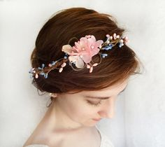 Hey, I found this really awesome Etsy listing at http://www.etsy.com/listing/153782335/pink-and-blue-floral-circlet-bridal