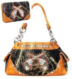 Western Pistol Orange Camouflage Rhinestone Handbag W Matching Wallet  #HBM #Hobo