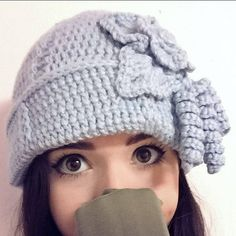 Pastel Light Blue Women's Crochet Hat Pattern Winter Or Cold Season Hat With Flower Crochet Hat For Women, Crochet Hats, Light Blue, Pastel, Cold, Trending Outfits, Seasons, Unique Jewelry, Handmade Gifts