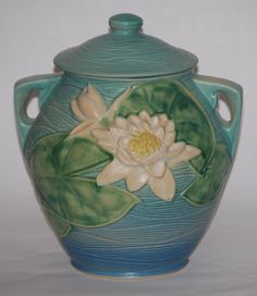 cookie jars | decorative roseville pottery water lily blue cookie jar cookie jar
