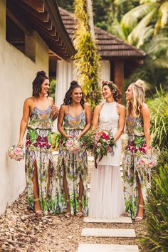 boho floral bridesmaid dresses, A-Line Spaghetti Straps Floor-Length Floral Chiffon Bridesmaid Dress with Split Mexican Bridesmaid Dresses, Patterned Bridesmaid Dresses, Bohemian Bridesmaid, Beach Wedding Bridesmaids, Bridesmaid Boxes, Bridesmaid Dresses Australia, Kauai Wedding, Beach Weddings, Tropical Wedding Dresses