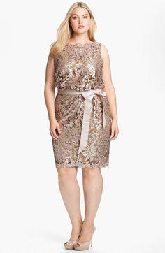 Tadashi Shoji Lace Overlay Dress (Plus) available at #Nordstrom