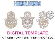 HAMSA HANDS for LASERCUT cut files clipart Silhouette Dxf Eps | Etsy Cnc Router, Silhouette Cameo, Cricut, Laser Cut Files, Hamsa Hand, Craft Items, Clipart, Handmade Crafts, Laser Cutting