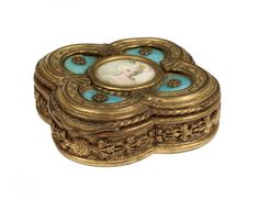 Lot:GOOD GILT BRONZE AND ENAMEL JEWELRY BOX, Lot Number:50, Starting Bid:$200, Auctioneer:Auction Gallery of the Palm Beaches Inc., Auction:GOOD GILT BRONZE AND ENAMEL JEWELRY BOX, Date:01:00 PM PT - Jan 13th, 2014