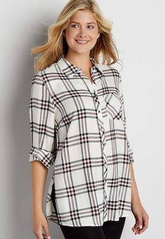 button down plaid tunic top in white combo | maurices