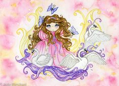 Fantasy Art Painting  The Swan Maiden  Aceo by Wishsongdesign, $4.00