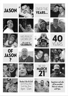 The best birthday invitations—by a professional party planner 40th Birthday Invitations, 40th Birthday Parties, 90th Birthday, Birthday Cards, Birthday Photo Collage, Birthday Photos, Birthday Ideas, Party Photos, Deco