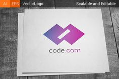 Code Logo by Krukowski on Creative Market Business Brochure, Business Card Logo, Coding Logo, Flat Logo, Site Website, Logo Branding, Logos, Creative Sketches, Paint Markers