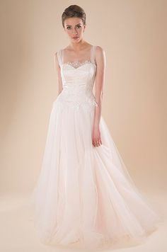 Light pink wedding dress with tulle straps. Cocoe Voci, Spring 2014 LOVE THIS!! <3