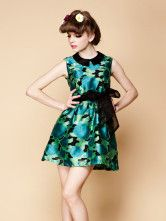 Casual Green Chiffon Floral Print Sleeveless Skater Dress For Women