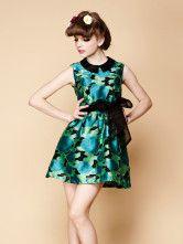 Casual Green Chiffon Floral Print Sleeveless Skater Dress For Women