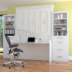 Bed & Room Porter Queen Portrait Wall Bed with Desk and Two Side Towers in White
