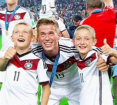 Erik Durm and the Klose twins after the final...It's like he's their big brother, so cute!