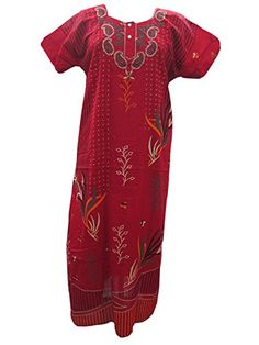 Boho Kaftan Dress Red Paisley Floral Print Cotton Caftan Nighty L / M Mogul Interior http://www.amazon.com/dp/B00N9X7LOI/ref=cm_sw_r_pi_dp_V81hub1NNXNB0