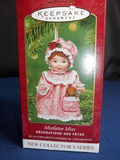 MISTLETOE MISS HALLMARK ORNAMENT,2001 ORIGINAL BOX W/PACKING HOLDER Hallmark Christmas Ornaments, Mistletoe, Packing, The Originals, Holiday Decor, Box, Bag Packaging, Snare Drum