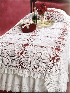 """Pineapple Bedspread Finished size: 75"""" x 109"""". Made with medium (worsted) weight cotton yarn and size G hook."""