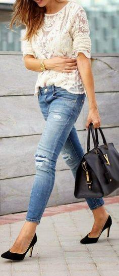 Jeans & Brocade Top  via