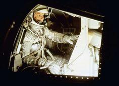 NASA's Mercury astronaut, John Glenn sits inside the training capsule, Jan. 11, 1961, in preparation... - undefined