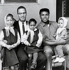 Malcolm X and Muhammad Ali and their daughters