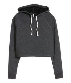 Sudadera corta con capucha | Gris oscuro jaspeado | Ladies | H&M CL