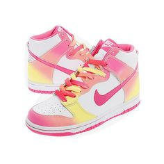 Nike Dunk High GS White Pink Yellow ❤ liked on Polyvore