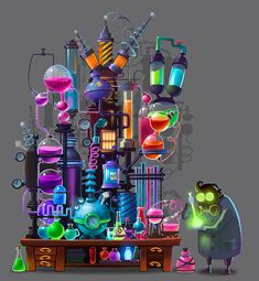 Alchemical laboratory on Behance Game Design, Book Design, Design Art, Cute Illustration, Graphic Design Illustration, Mad Scientist Lab, Space Lab, 3d Things, Pink Wallpaper Iphone