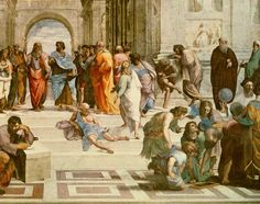 (Raphael) Raffaello Santi - School of Athens, detail from right hand side showing Diogenes on the steps and Euclid