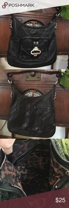 B Makowsky black leather purse Beautiful soft leather good condition no odors, tears. The rt side (when looking at the purse double straps) has been repaired by me. They were starting to separate. Not very noticeable the price reflects:) 13 inch strap drop b. makowsky Bags Hobos