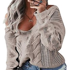 Women's Solid Color V-neck Long Sleeve Knit Pullover Sweater >>> Check out this great product. (This is an affiliate link) #Sweaters