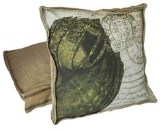 Nautical Beach Decor Olive Green Shell  - Vintage French Style Box Pillow Burlap and Cotton with Down Insert on Etsy, $85.00