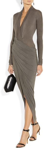 Donna Karan New York Draped Wrapeffect Jersey Dress in Gray (Anthracite)