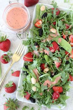 Clean Eating Strawberry Arugula Salad + Strawberry Champagne Dressing from the Whole Smiths. A Paleo-friendly, vegan, gluten-free and easy summer salad - so good you will want to make it over and over again. Best Paleo Recipes, Primal Recipes, Whole 30 Recipes, Real Food Recipes, Summer Recipes, Free Recipes, Top Recipes, Drink Recipes, Recipies