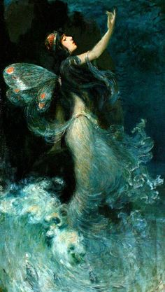 ≍ Nature's Fairy Nymphs ≍ magical elves, sprites, pixies and winged woodland faeries - Water Nymph by Paul Swan Illustrations, Illustration Art, The Magic Faraway Tree, Art Beat, Water Nymphs, Beautiful Fairies, Fairy Land, Magical Creatures, Art Plastique