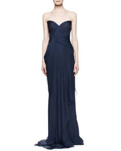 Bridesmaid Dresses (theirs are in GOLD) J. Mendel Strapless Silk Gown with Pleated Bodice $4,900