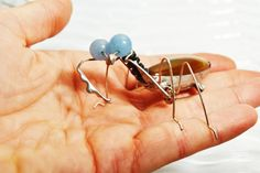 Praying Mantis  stone&metal broche by everglass on Etsy