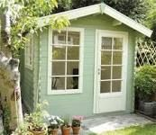 Shed colour! Keops cabin - Cuprinol Garden wood shades in Willow and Natural Stone Painted Garden Sheds, Painted Shed, Wooden Garden, Shed Paint Colours, Cuprinol Garden Shades, Craft Shed, Wendy House, She Sheds, Building A Shed