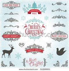 Hand drawn swirls. Merry Christmas and Happy Holidays typography design with deer, dove, snowflakes and New Year Tree. Ornate winter elements, dividers, corners and banners. Vector illustration.