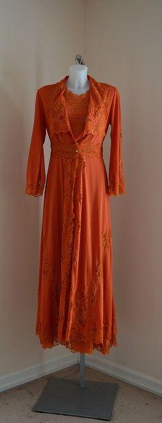 Vintage Peignoir Set Vintage Peignoir Burnt Orange by MadMakCloset