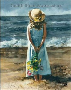 BEACH GIRL 11x15 Giclee Watercolor Art Print by steinwatercolors, $40.00