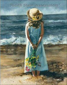 BEACH GIRL 11x15 Giclee Watercolor Art Print by steinwatercolors, $40.00