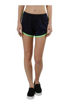 Trendy Knit Track Shorts W/ Contrast Trim