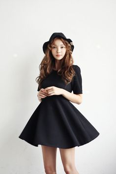Rib Simple Flare Dress