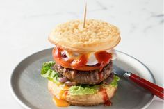 We all love crumpets with jam and honey, but here are a few completely new ideas that will knock your socks off.AUSSIE CRUMPET BURGER
