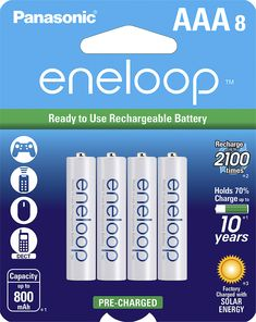 Panasonic - eneloop Rechargeable AAA Batteries (8-pack) - White, BK-4MCCA8BA