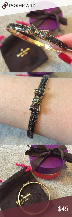 Kate Spade bracelet Kate Spade multicolor glitter bracelet with bow and gold hardware. Worn once & in perfect condition! Comes with box and dust bag. kate spade Jewelry Bracelets