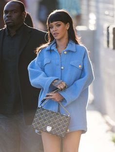 Rihanna Proves that a Lady Bag Can Work with Anything --That coat!