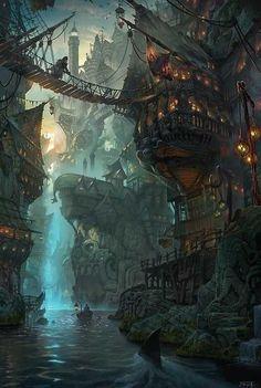 ideas for landscape concept art fantasy artworks Fantasy Magic, Fantasy City, Fantasy Island, Fantasy Places, Fantasy World, Dark Fantasy, Fantasy Village, Fantasy Art Landscapes, Fantasy Landscape