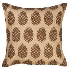 Pine Cones Burlap Throw Pillow