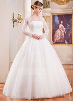 Wedding Dresses - $249.99 - Ball-Gown Strapless Floor-Length Tulle Wedding Dress With Lace (002042295) http://jjshouse.com/Ball-Gown-Strapless-Floor-Length-Tulle-Wedding-Dress-With-Lace-002042295-g42295?pos=related_products_1